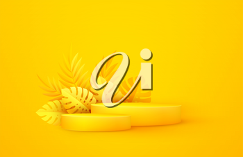 Minimal yellow scene with geometric shapes and palm leaves. Cylindrical podium on a yellow background. 3D monochrome stage for displaying a cosmetic product, showcase