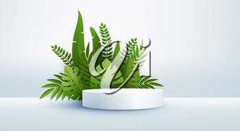Minimal white scene with geometric shapes and green tropical palm leaves. Cylindrical podium on a yellow background. 3D monochrome stage for displaying a cosmetic product, showcase. Monstera and palm leaf