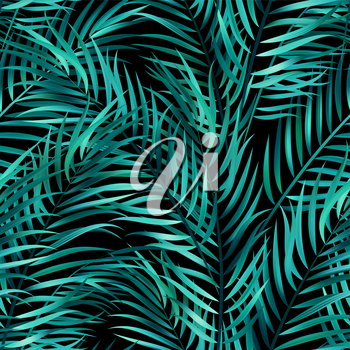 Tropical green palm leaves, jungle leaves seamless vector floral pattern background.