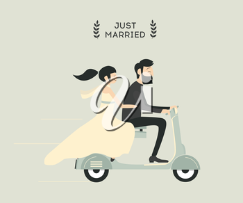 Royalty Free Clipart Image of a Married Couple on a Scooter