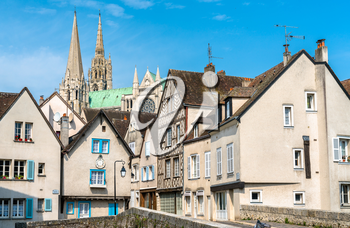 Historic buildings in Chartres, the Eure-et-Loir department of France