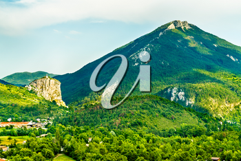 View of the Rock with the Chapel of Our Lady on top. Castellane - Alpes-de-Haute-Provence, France