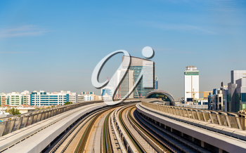 View of the Red Metro line in Dubai