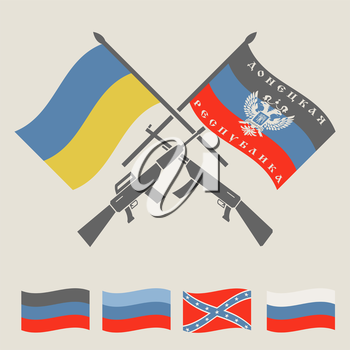 Ukraine and Russia military conflict graphic template. DNR, LNR, New Russia and Ukraine flags.  Constructor. Vector illustration