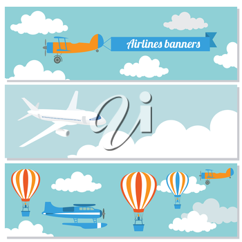 Set of flying airplanes banners for your text. Vector illustration