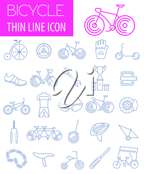 Bicycle icon set. Bike types. Vector illustration linear thin design