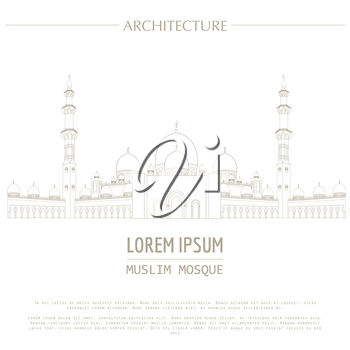 Cityscape graphic template. Modern city architecture. Vector illustration of Muslim Mosque. City constructor. Template with place for text. Outline version