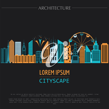 Cityscape graphic template. Modern city architecture. Vector illustration with different modern city buildings, such as office buildings, skyscrapers, houses, entertainments. City constructor. Templat