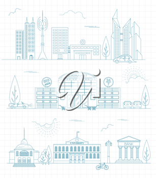 Great city map creator. Outline version. House constructor. House, cafe, restaurant, shop, infrastructure, industrial, transport, village and countryside. Make your perfect city. Vector illustration