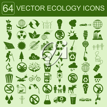 Environment, ecology icon set. Environmental risks, ecosystem. Vector illustration