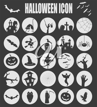 Halloween icon set. Holiday design. Vector illustration.