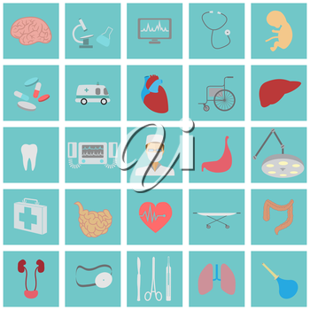 Medical and healthcare icon set. Vector illustration