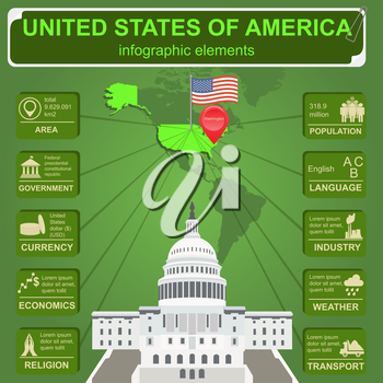 United States of America infographics, statistical data, sights. Vector illustration