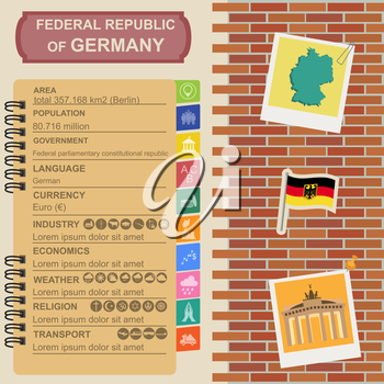 Germany infographics, statistical data, sights. Vector illustration