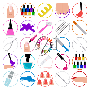 Manicure, nail salon. Icon set. Vector illustration