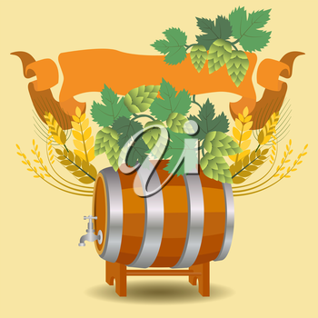 Barrel mug with wheat and hops. Vector illustration