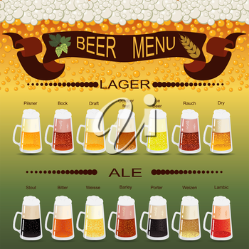 Beer menu set, creating your own infographics. Vector illustration