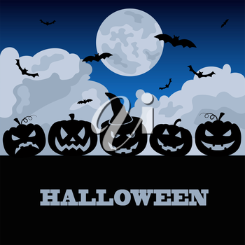 Halloween holiday graphic template. Flat icons. Vector illustration