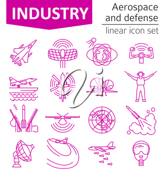 Aerospace and defense, military aircraft icon set. Thin line design for creating infographics. Vector illustration