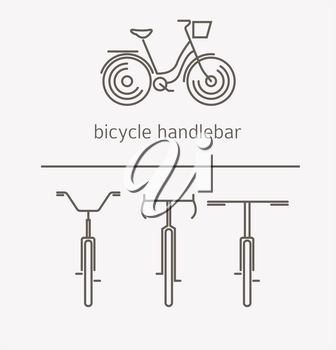 Equipment for transport driving logo set. Bicycle handlebar, steering wheels thin line icons. Vector illustration