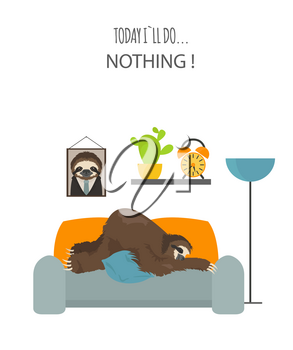 The story of one sloth. At home. Funny cartoon sloths in different postures set. Vector illustration