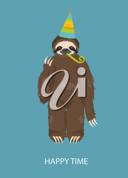 The story of one sloth. At the party with friends. Funny cartoon sloths in different postures set. Vector illustration