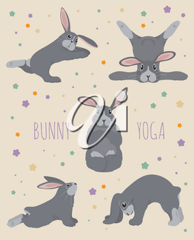 Bunny yoga poses and exercises. Cute cartoon poster design. Vector illustration