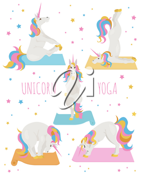 White unicorn yoga poses and exercises. Cute cartoon clipart set. Vector illustration