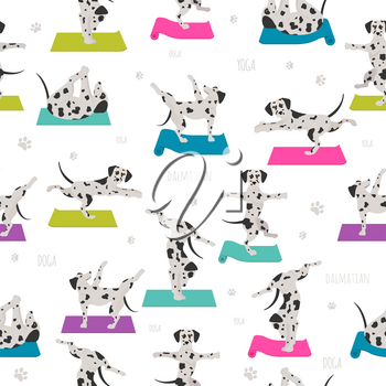 Yoga dogs poses and exercises. Dalmatian seamless pattern. Vector illustration
