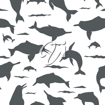 River dolphins seamless pattern. Marine mammals collection. Cartoon flat style design. Vector illustration
