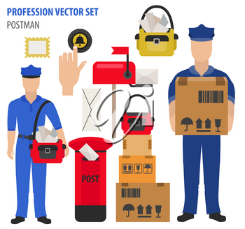 Profession and occupation set. Postman`s equipment, uniform flat design icon.Vector illustration