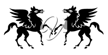 Royalty Free Clipart Image of Winged Horses