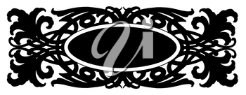 Royalty Free Clipart Image of a Black Frame With Flourishes