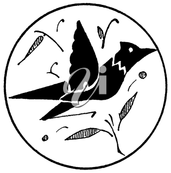 Royalty Free Clipart Image of a Bird Medallion