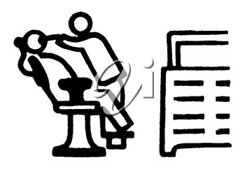 Royalty Free Clipart Image of a Man at the Dentist