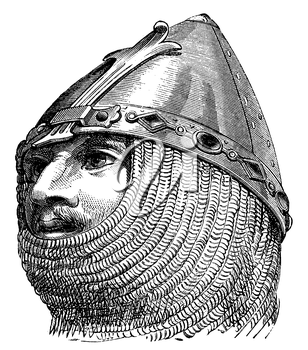 Royalty Free Clipart Image of a Knight and his Helmet