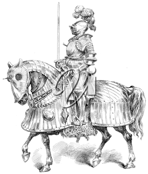 Royalty Free Clipart Image of a Knight on a Horse