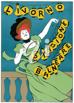 Royalty Free Clipart Image of an old Theatre poster for Bathing Season