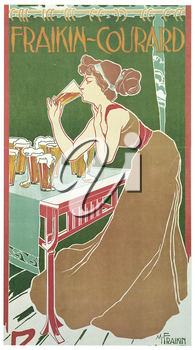 Royalty Free Clipart Image of an old advertisement for Drinking Beer
