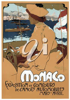 Royalty Free Clipart Image of a poster for the Monaco motorboats exhibition contest