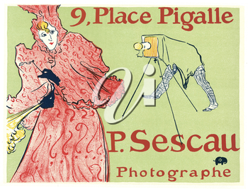 Royalty Free Clipart Image of an Old Photography Advertisement Poster