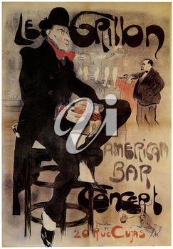 Royalty Free Clipart Image of an Old Theatre Poster For the Production of An American Bar