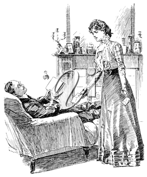 Royalty Free Clipart Image of a Woman Talking to a Man in a Chair