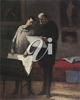 Royalty Free Clipart Image of a Painting of Two Men Looking at Plans