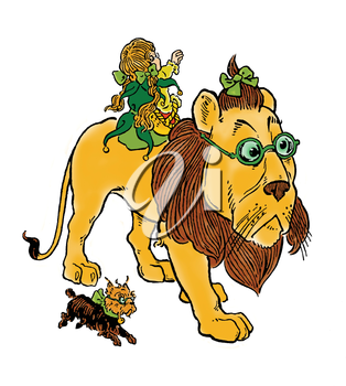 Royalty Free Clipart Image of a Person Riding a Lion