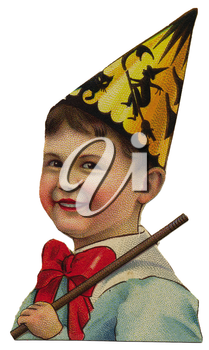 Royalty Free Clipart Image of a Boy in a Party Hat