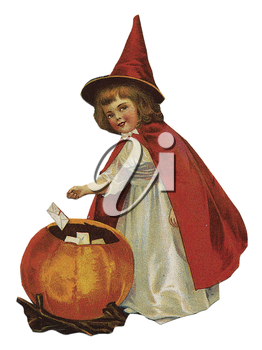 Royalty Free Clipart Image of a Vintage Illustration of a Child in a Witch Costume