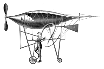 Royalty Free Clipart Image of an Early Flying Machine
