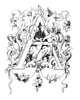 Royalty Free Clipart Image of an Ornate Letter A