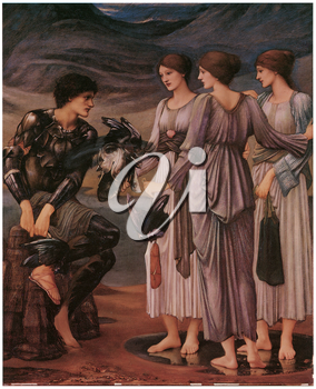 Royalty Free Clipart Image of The Perseus Series: Perseus and the Sea Nymphs (The Armament of Perseus) by Edward Burne-Jones